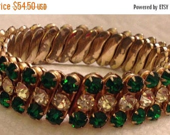 On Sale Vintage Green Rhinestone Expandable Bracelet, 1950's 1960's, Retro Collectible Jewelry Rockabilly Glamour Girl Style Jewelry