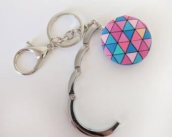 Handbag Hook Key Ring and Bag Charm, Purse Hook Hanger Key chain, Bag Hook, Folding Purse Hanger in Pink Geometric