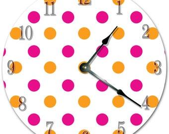 "10.5"" COLORFUL POLKA DOTS Clock - White Clock - Living Room Clock - Large 10.5"" Wall Clock - Home Décor Clock - 5740"
