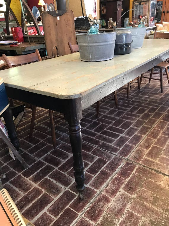 Farmhouse Dining Room Table - 3 board top - Light Blue Grey