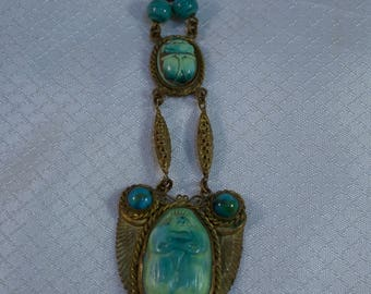 c1920's Egyptian Revival Glass Scarab and Brass Pendant