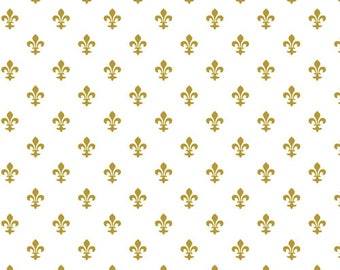 """Fleur De Lis White and Gold Tissue Paper for Gift Bags 15""""x20"""" Sheets (Free Shipping!)"""