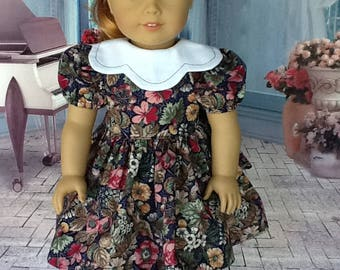 18 inch doll Retro dress.  Fits American Girl dolls. Navy print with  scalloped collar.
