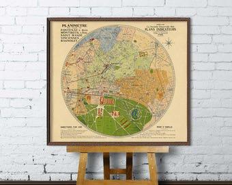 Old map of Vincennes, Bagnolet, Fontenay-s-Bois, Montreuil-s-Bois - Fine print - Vieille carte