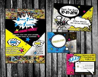 Avengers Inspired Superhero Comic Book Wedding Invitation, Save The Date,  RSVP, And Thank
