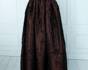 "Renaissance Steampunk Wench Jane Skirt -- Chocolate Cherry Ribbon Taffeta -- Fits up to 46"" Waist, 38"" Length -- Ready to Ship"