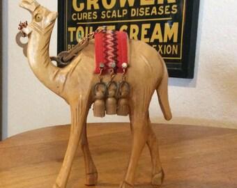 Carved olive wood camel middle eastern toy decoration