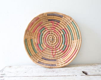 Woven African Vintage Basket Plate - Red - Wicker Woven Wooden Natural Orange Brown Tan Basket Fruit Basket Container