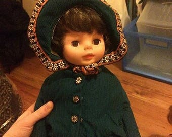 Vintage brunette doll with cutest outfit!