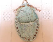 Wall Pocket, Stoneware Pottery Wall Sconce with Leaf Imprints, Small Oval, Hand-built, Kitchen, Office, Craft Organizer
