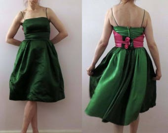 Vintage 60s Emerald Shamrock Green Pink Bow Satin Party Prom Dress Small