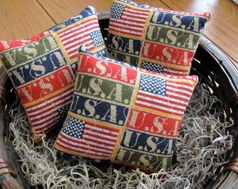 Patriotic Bowl Fillers 4th of July Patriotic U.S.A. Ornies Flag USA Fabric Bowl Fillers Ornies Tucks Set of Three Red White & Blue Pillows