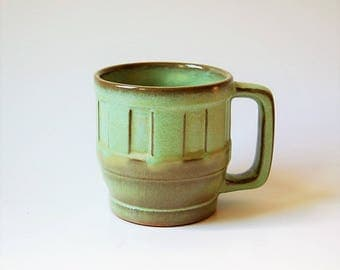 Frankoma Art Pottery Wagon Wheel 94M Coffee Mug Plainsman Green Brown Glaze
