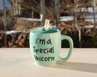 Turquoise Special Unicorn Mug Rainbow