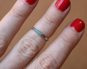 Turquoise Band RING / Southwest Stacking Ring / Simple Turquoise Jewelry / Size 4 3/4