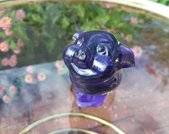 FENTON PIG Lavender / Purple Glass Hand Decorated Flowers Smiling Happy Pig Fenton Critters Collectible USA Made Glass