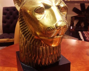 RESERVED LAYAWAY Payment--Chapman Brass Lion Head Sculpture 1979 Exquisite Home Decor Large Size