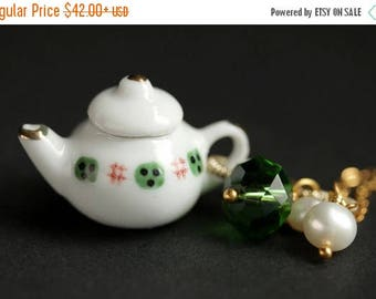 BACK to SCHOOL SALE Porcelain Teapot Necklace. Green and Red Tea Pot Necklace with Green Crystal and Pearl Charms. Green Necklace. Gold Neck