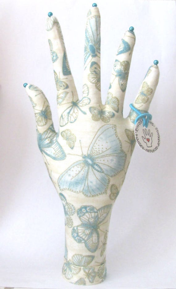 Antique Butterfly Fabric HAND-Stand Jewelry Display Ready to Ship