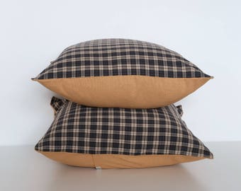 "Handmade brown and beige check print square cushion cover 50cm x 50cm/ 20"" x 20"" in Mustard Yellow"