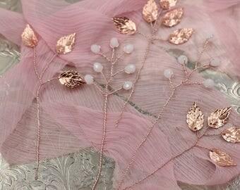 Rose Gold Hair Pins, Crystal Hair Pins, Rose gold bridal pins, Bridal Hair Pins, Rose gold leaf pins, Hair pins, Rose gold hair piece