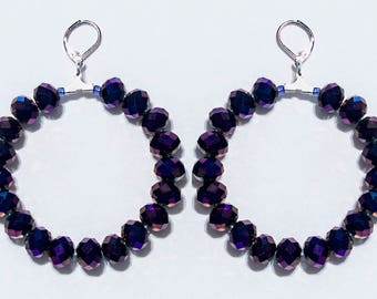 Dark Purple Swarovski Hoop Earrings