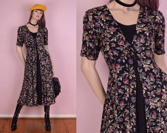 90s Lace Up Floral Print Flowy Dress/ Small/ 1990s