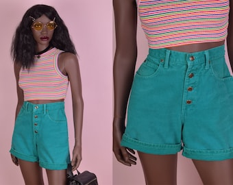 90s High Waisted Turqouise Denim Shorts/ US 7/ 1990s/ Jean Shorts