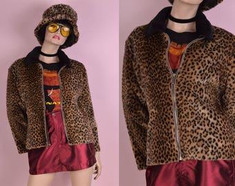 90s Leopard Print Faux Fur Jacket/ Medium/ 1990s