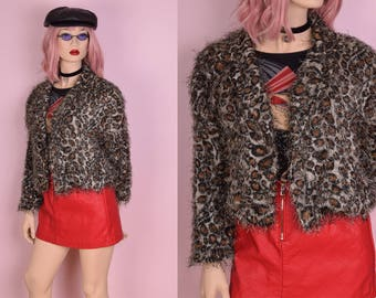 90s Shaggy Leopard Print Jacket/ Small-Medium/ 1990s