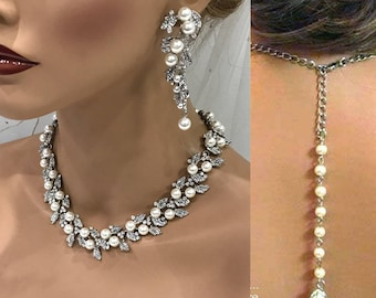 Bridal jewelry set, wedding jewelry, bridesmaid jewelry set, pearl backdrop necklace earrings, Platinum Plated pearl necklace jewelry set