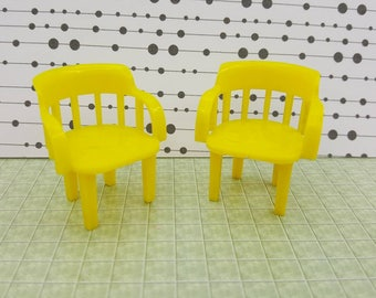 Marx Rec Room Yellow Barrel Chairs Rumpus Room Toy Dollhouse Traditional Style Hard Plastic