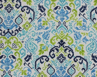 Two 20 x 20  Designer Decorative Pillow Covers for Indoor/Outdoor - Floral Damask - Blue Green