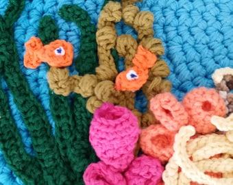 Nursery Decor, Nursery, Play Mat, Bath Mat, Round Rug, Hyperbolic Crochet, Coral Reef, Children's Room Decor, Under the Sea, Rugs, Mat