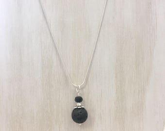 Essential Oil Diffuser Necklace Lava Stone Black and Silver