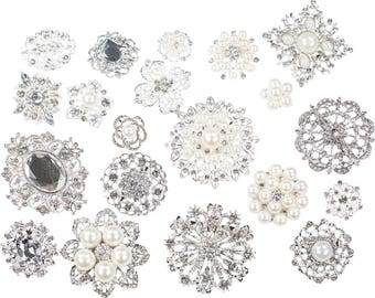 10pcs DIY Brooch Bouquet Supplies Mixed Pack, Wedding Broach Bouquet Brooches with Clear Stones and Pearls, 711-SP