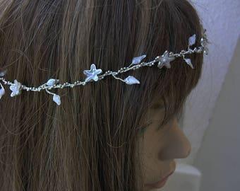 White wedding tiara, Silver tiara, Silver headpiece,  Bridal hair accessories, Bridal hair jewelry, Bridal hairpiece, Silver hair vine.