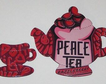 TEAPOT and TEACUP Magnets - Peace Tea - Razzleberry