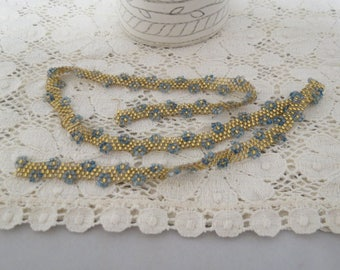 Vintage Loom Bead Work Blue Flowers Amber Seed Beads Clothing Embellishment Hand Crafted