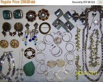 TWICE A YEAR, 25% Off Vintage Jewelry Lot 68. Blues and Greens.