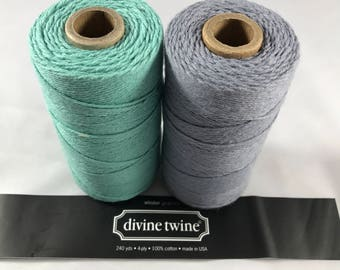 Divine Twine - Bakers Twine - 100% Cotton  - Gray Skies - Teal and Gray Solid Two Pack - Your Choice of Length
