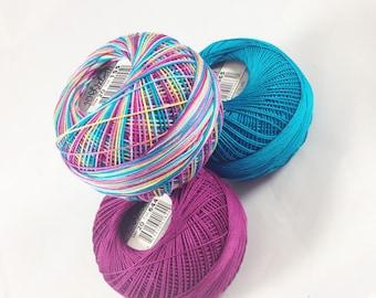 FULL SPOOLS - Lizbeth Tatting Thread - Size 20 - Ocean Sunset/Dark Boysenberry/Dark Ocean Teal 3 Pack - Colors 155, 665 and 644