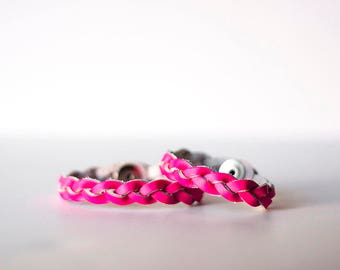 Mommy & Me Bracelet Set / Braided Leather / Neon Pink