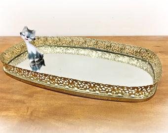 Gold Filigree Vanity Tray Gold Mirror Tray