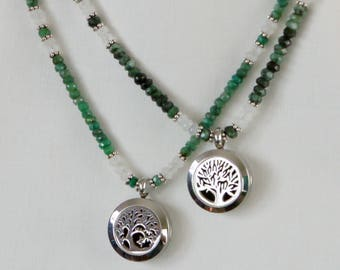 Emerald & Moonstone Aromatherapy Necklaces with Custom Essential Oil Blend
