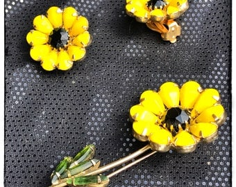 Vintage sunflower clip on earrings and brooch