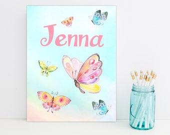 Butterfly Sky Personalized Folder, School Supplies, Back to School, Monogrammed Folder, Custom Pocket Folder