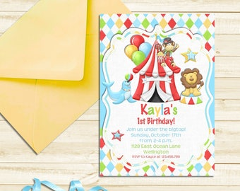 Circus Birthday Invitation, 1st Birthday Carnival Party Printable Invite for Boy or Girl
