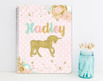 Unicorn Personalized Spiral Notebook - Monogrammed School Supplies - Back to School Custom Journal Gift