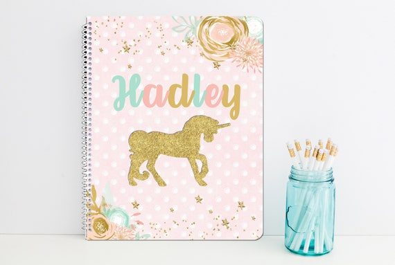 Unicorn Personalized Spiral Notebook